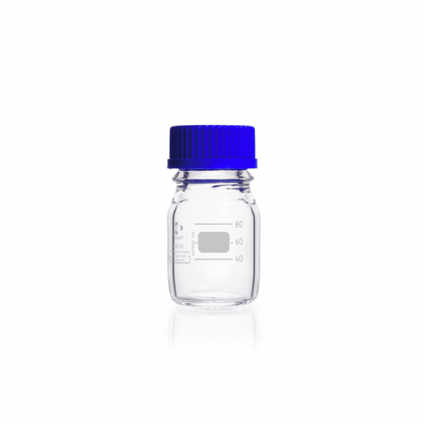 Picture of DURAN® Original Laboratory Bottles, with PP Cap and Pour Ring (Blue), Borosilicate Glass