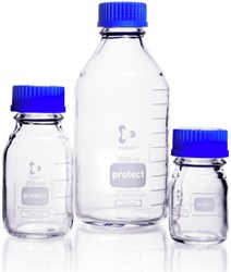 Picture of DURAN® Protect Laboratory Bottles, Plastic Coated, with PP Cap and Pour Ring (Blue), Borosilicate Glass
