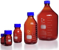 Picture of DURAN® Laboratory Bottles, Amber, with PP Cap and Pour Ring (Blue), Borosilicate Glass