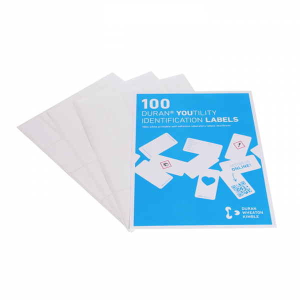 Picture of DURAN® YOUTILITY® Printable Labels, Self Adhesive, White Polyester, 100 Labels