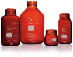 Picture of DURAN® GLS 80® Laboratory Bottles, Wide Mouth, Amber, without Screw Cap and Pour Ring, Borosilicate Glass