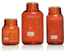 Picture of DURAN® PURE GLS 80® Laboratory Bottles, Wide Mouth, Amber, without Screw Cap and Pour Ring, Borosilicate Glass